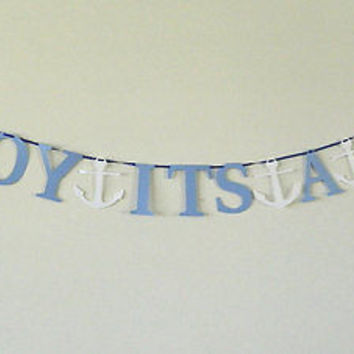 Ahoy It's a Boy Light Blue Nautical Baby Shower Banner Paper Garland Photo Prop