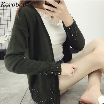 2018 Autumn NEW Lady Knitted Short Sweater Women Slim V-Neck Cardigans Long Sleeves Beading Sueter Tops 75644