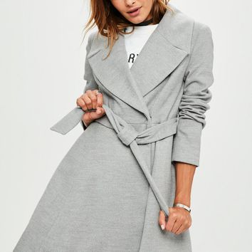 Missguided - Gray Belted Short Wool Skater Coat
