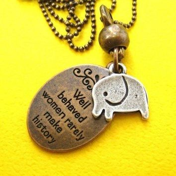 Elephant Animal Pendant Necklace in Bronze with Quote | DOTOLY