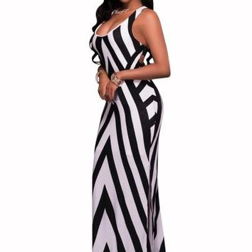 """BODYCON"" White/Black Striped Women's Maxi Dress"