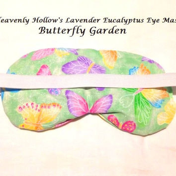 Eye Mask Lavender Eucalyptus, Sinus, Herbal Pack, Hot Cold Pack, Heat Wrap,Organic, Flax Seed, Microwave Therapy,   Butterfly Garden