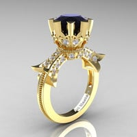 Modern Vintage 14K Yellow Gold 3.0 Ct Black and White Diamond Solitaire Engagement Ring R253-14KYGDBD