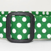 Green and White Polka Dot Dog Collar