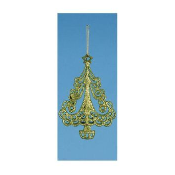 MDIGMS9 6' Apple Green Glitter Drenched Swirling Christmas Tree Ornament