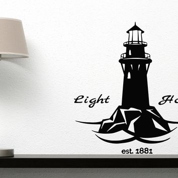 Large Vinyl Decal Lighthouse Device Light Sound Detect Coast Wall Sticker (n586)