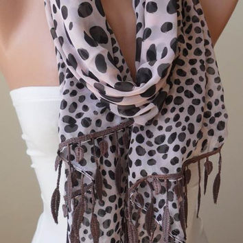 Light Salmon - Beige - Silk - Chiffon Dalmatian Scarf with Trim Edge - Polka Dot