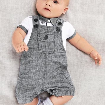 Summer Hot Sell Gentleman Style Baby Boy Clothes Short Sleeve White T-shirt+Gray Overalls Infant Toddler Clothing Set