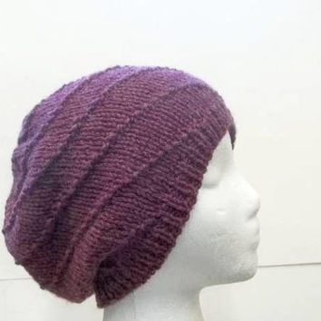 Slouchy beanie hat knitted  purple  5321