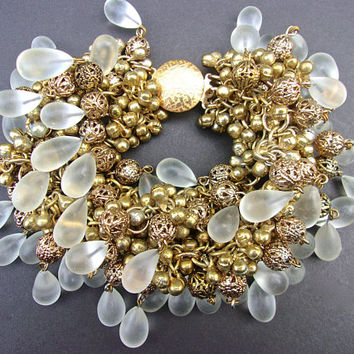 Frosted Glass & Filigree Brass Huge Charm Bracelet, French Made, Runway, Vintage