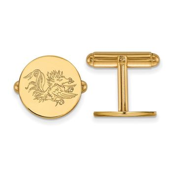 NCAA 14k Gold Plated Silver Univ. of South Carolina Round Cuff Links