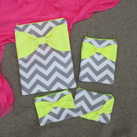 Matching Set of Cases - Neon MacBook, iPad or iPad Mini, and Free Cosmetic Case - Gray Chevron with Dayglo Yellow Bow - Padded