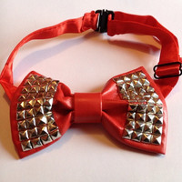 Red Leather Studded Bow Tie Stud Studs Bowtie PU Satin Goth Gothic Punk Rock Gothic Lolita Band Geek Formal