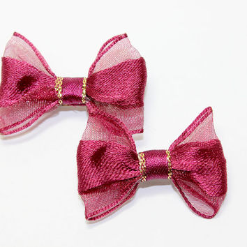 Wine Color Dog Bows. Set of Two Puppy Hair Bows. Burgandy Dog Hair Bows. Choose Hair Elastics or French Clips. Satin Ribbon Tie with Gold