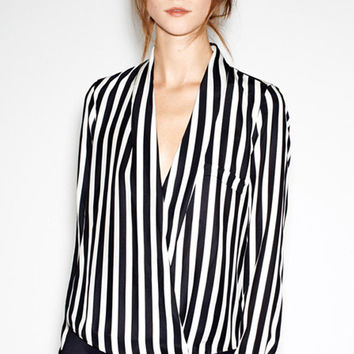 Black and White Vertical Striped Print Deep V Neck Long Sleeve Chiffon Top