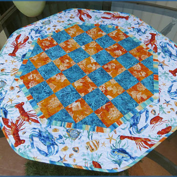 Quilted Table Topper Quilt Ocean Tides 771