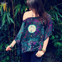 Bohemian Top Off Shoulder Blouse Kaftan Tie Dye Crochet Doily Boho Hippie Women's Upcycled Clothing Recycled Eco Friendly Clothing OOAK