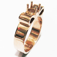 Ring Mounting Engagement Ring Solitaire Ring in Solid 18K Rose Gold