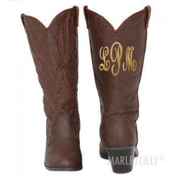 Monogrammed Cowboy Boots | Marley Lilly