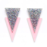 Apache Earrings (pink and glitter)
