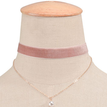 Pink Multirow Faux Pearl Pendant Choker Necklace