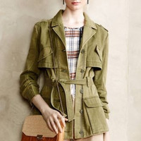 NWT ANTHROPOLOGIE by HEI HEI RUFFLEBACK ARMY GREEN ANORAK JACKET S
