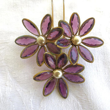 Vintage Fur Clip Daisy Clip Amethyst Glass Floral Dress Clip  Vintage Three Daisies Open Back Faux Pearl Dimensional Clip