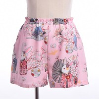 Women Japanese Style Harajuku Shorts Onegai Usagi Praying Rabbit Print Blossom Bunny Elastic Waist with Pocket