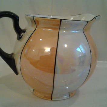 Gorgeous Vintage Creamer Iridescent Stripes Gold White Black Trim, Pot Belly Pitcher Cottage Style Shabby Chic Czech Czecho-Slovakia