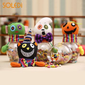 Novelty Halloween Candy Bottle Halloween Candy Jar Halloween Candy Box Fashion Ghost Pumpkins Plastic Gift Chidren Storage Cans
