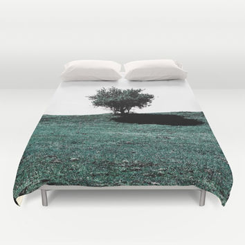 Tree On Hill Duvet Cover by ARTbyJWP