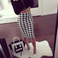 New Fashion Sexy Women Houndstooth High Waist Pencil Skirts Striped OL Skirts