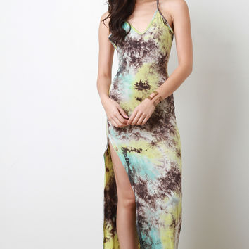 Burst Tie Dye Slit Maxi Dress