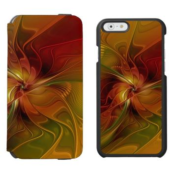 Abstract Red Orange Brown Green Fractal Art Flower iPhone 6/6s Wallet Case