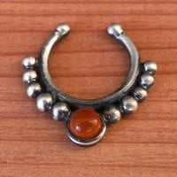 Fake Septum Ring - Faux Septum Ring - Fake Septum Piercing - Nose Jewelry - Septum Jewelry - Oxidized Silver Septum For Non Pierced Nose