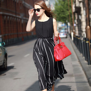 Black Sleeveless Striped Blouson A-line Maxi Dress