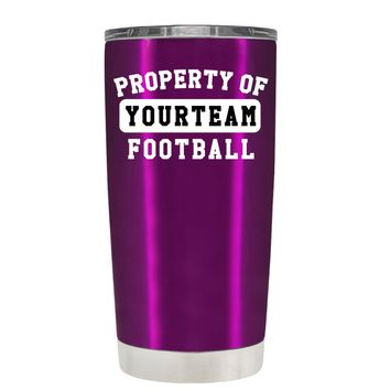 TREK Property of Football Personalized on Raspberry 20 oz Tumbler Cup