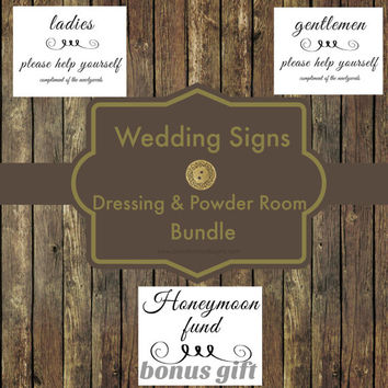 50% OFF SALE-Wedding Reception Print, Bathroom Sign, Honeymoon Fund Sign,  Reception Printable, Wedding Poster, Wedding Decor Sign