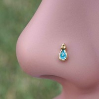 Gold Nose Ring Nose Stud Blue Sparkly