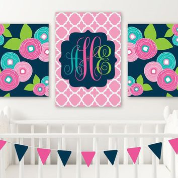 Pink Navy Monogram Wall Art, Flower Monogram Art, Girl Initial Decor, Baby Girl Nursery Wall Art, Canvas or Prints, Set of 3 Girl Above Crib