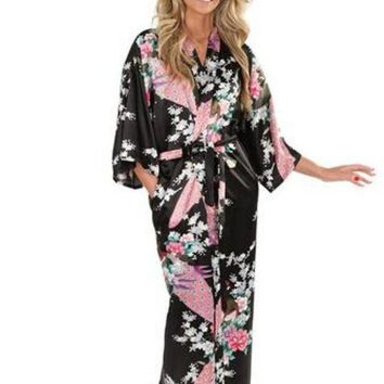 ESBONFI Brand New Black Women Silk Kimono Robes Long Sexy Nightgown Vintage Printed Night Gown Flower Plus Size S M L XL XXL XXXL A-045