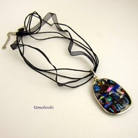 Brilliant Kaleidoscope of Colorful Fused Dichroic Glass Handmade Pendant