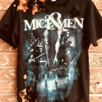 OF MICE And MEN Medium  bleached, distressed, cut , rock n roll, heavy metal rock shirt