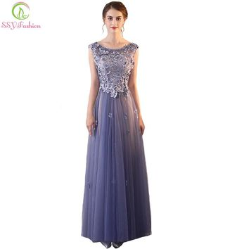 New Evening Dress The Banquet Elegant Smoke Purple Lace Appliques with Beading Floor-length Prom Party Formal Gown