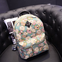 Stylish Floral Backpack Bags Clock [6581130887]