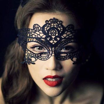ac DCCKO2Q 1PCS  Black Women Sexy Lace Eye Mask Party Masks For Masquerade Halloween Venetian Costumes Carnival Mask For Anonymous Mardi