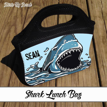 Personalized Shark Lunch Bag - Kids Shark Lunch Tote Neoprene Zippered Lunch Box Custom Boys Girls