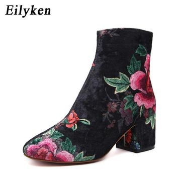 Eilyken Winter Women Shoes Fashion Embroider High heels Round Toe Floral Ankle Boots Square Heels Size 35-40