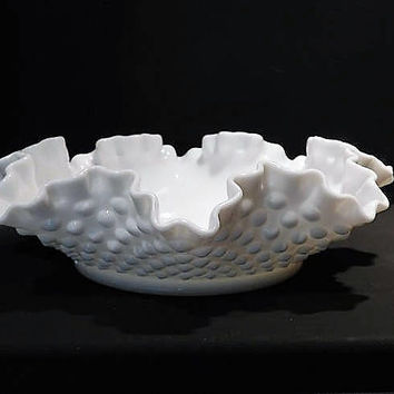 Milk Glass Wedding Decor Mid Century 1960s Vintage Fenton Hobnail Ruffled Bowl White Milk Glass Wedding Table Decoration Nut Mint Condiment