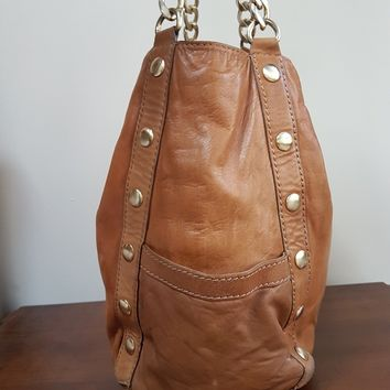 Michael Kors MK Tan Natural Studded Leather Handbag Purse